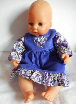 Outfit: Purple pinafore with frill and matching top for dolls. 2 pieces. NEW!