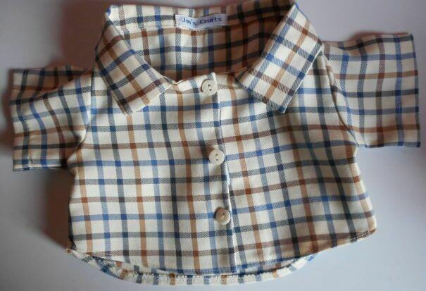 Shirt - blue and tan check on cream background. NEW!