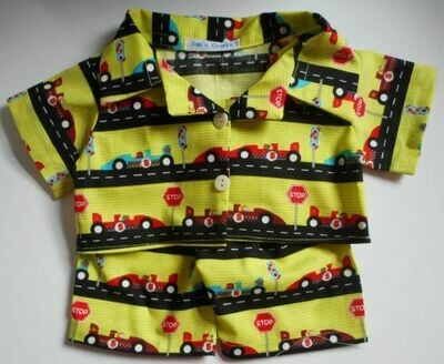 Pyjamas with collar - racing car printed cotton. NEW!