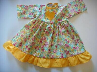 Dress, floral with contrast frill in yellow.