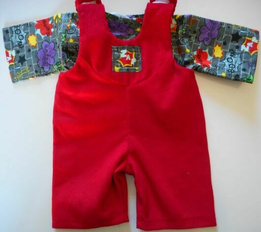 Outfit: Red dungarees and grey top