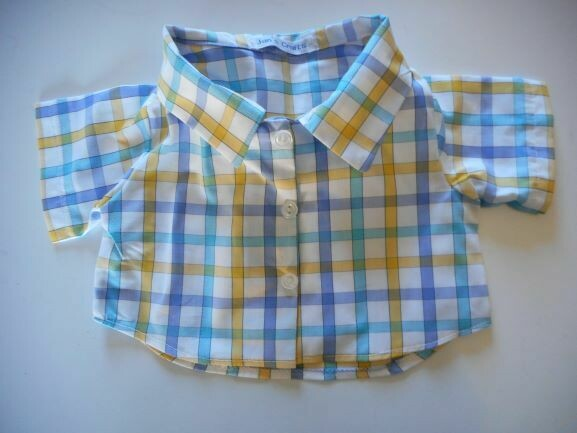 Shirt - blue and yellow check on white background. NEW!