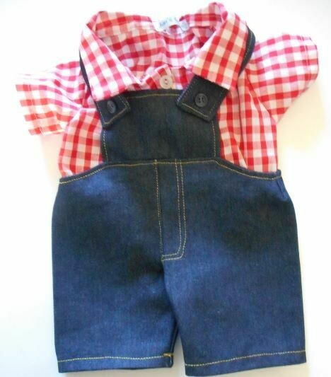 Outfit: Dungarees with red and white check shirt.