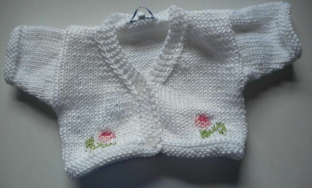 Cardigan for bear - white with pink flowers