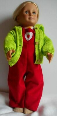 Outfit: Red dungarees, fruit print top and lime hooded cardigan