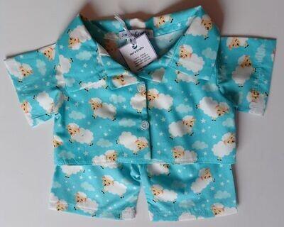 Pyjamas with collar - white sheep on turquoise printed cotton. NEW!