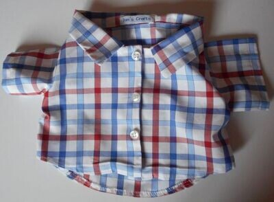Shirt - blue and red check on white background. NEW!