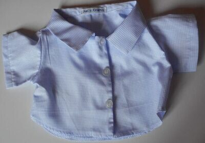 Shirt - tiny blue check on white background. NEW!
