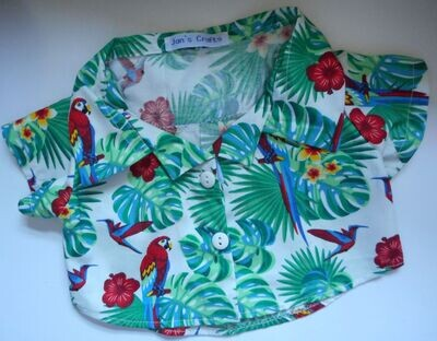Shirt - parrots on off-white background