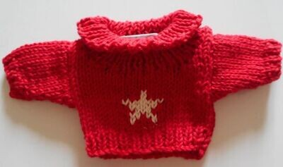 Jumper, red with cream star roll neck - small bear 16cm/ 6 inches high