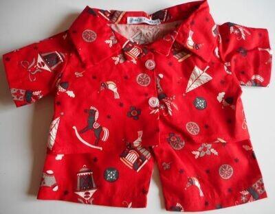 Pyjamas with collar - red x-mas print.