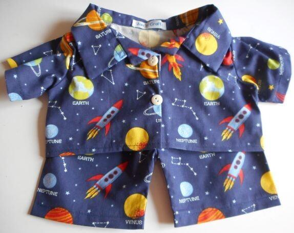 Pyjamas with collar - space themed print.