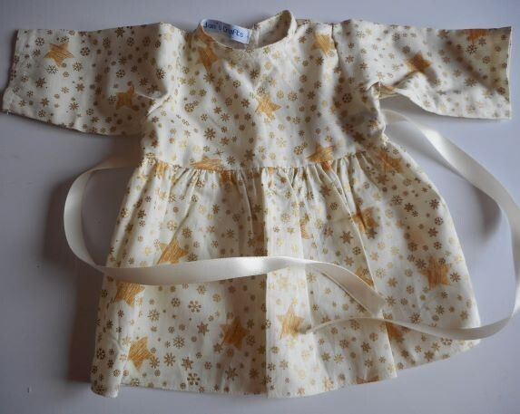 Dress with long sleeves in cream and gold print-doll
