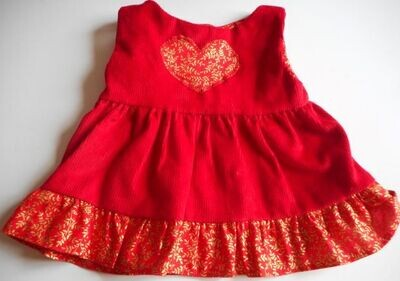 Pinafore for bears: red corduroy with gold and red contrast