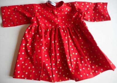 Dress, red with gold and silver stars.