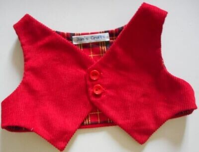 Waistcoat for bears - red corduroy with x-mas tartan lining.