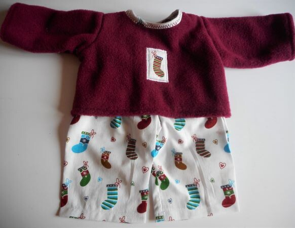 Pyjamas for dolls - wine colour fleece top and fabric trousers