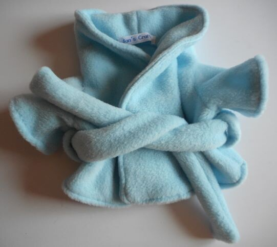 NEW pale blue fleece dressing gown for 21 to 25cm bear