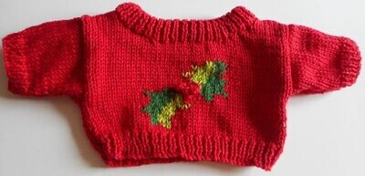 Jumper, holly detail round neck - bear 36cm/ 14 inches high