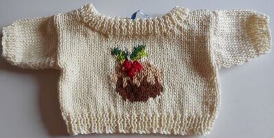 Jumper, round neck , with x-mas pudding detail on front - bear 36cm/ 14 inches high