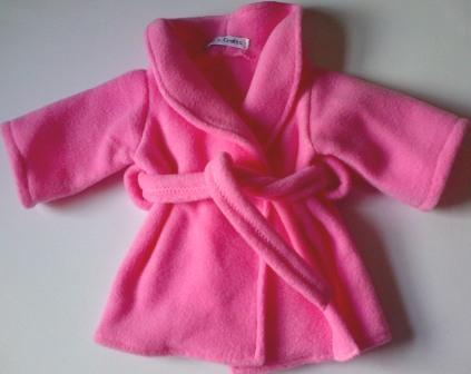 Dressing gown for dolls - pink fleece