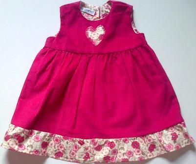 Pinafore with frill for dolls- cerise pink