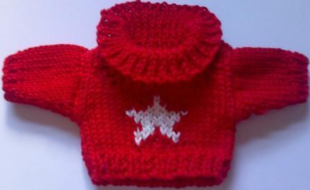 Jumper, red roll neck with cream star- small bear 16cm/ 6 inches high