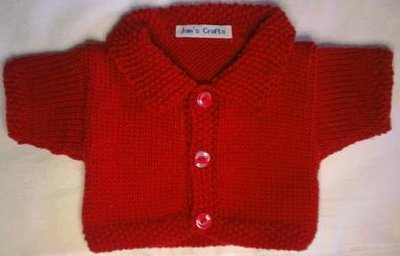 Cardigan with collar - red