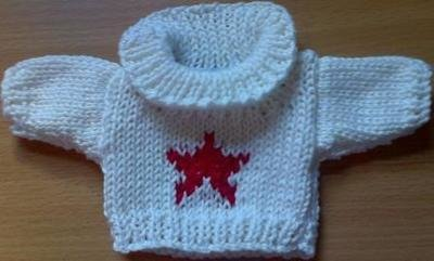 Jumper, cream roll neck with red star- small bear 16cm/ 6 inches high