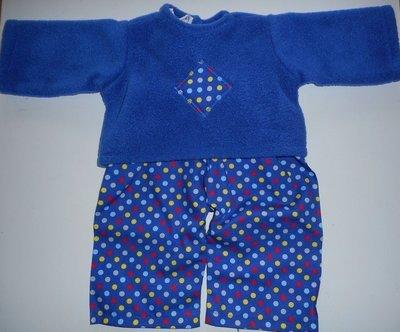 Pyjamas - fleece top and fabric trousers - royal blue