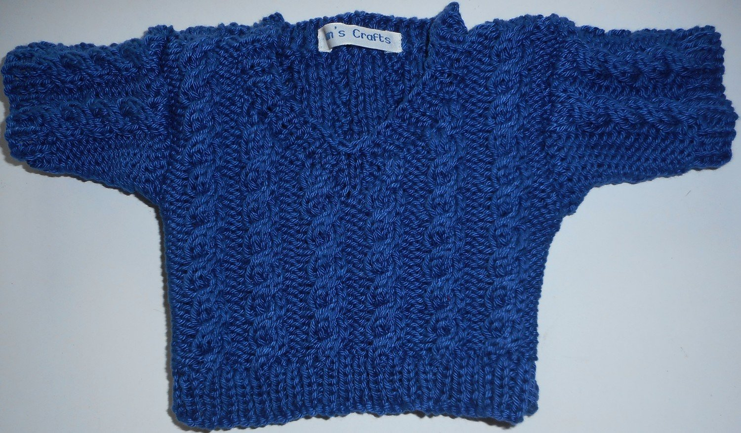 Jumper, blue cable v neck - bear 36cm/ 14 inches high