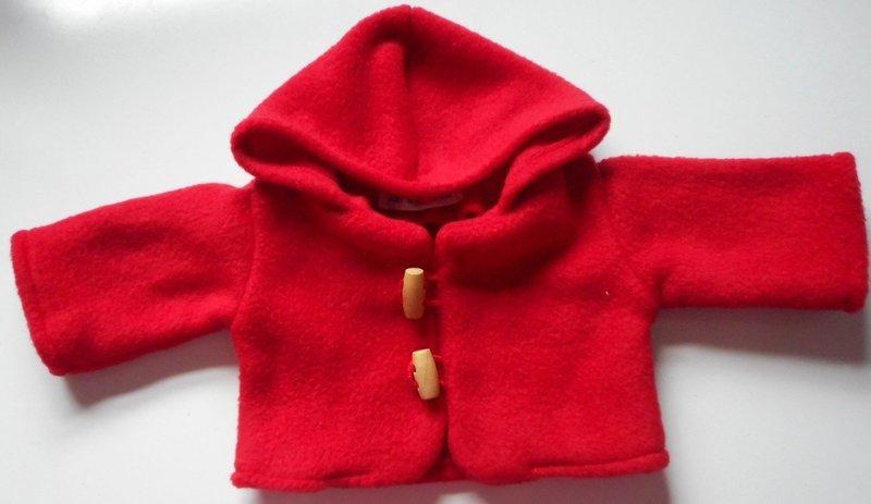 Coat for dolls - hooded, red fleece, in 3 sizes