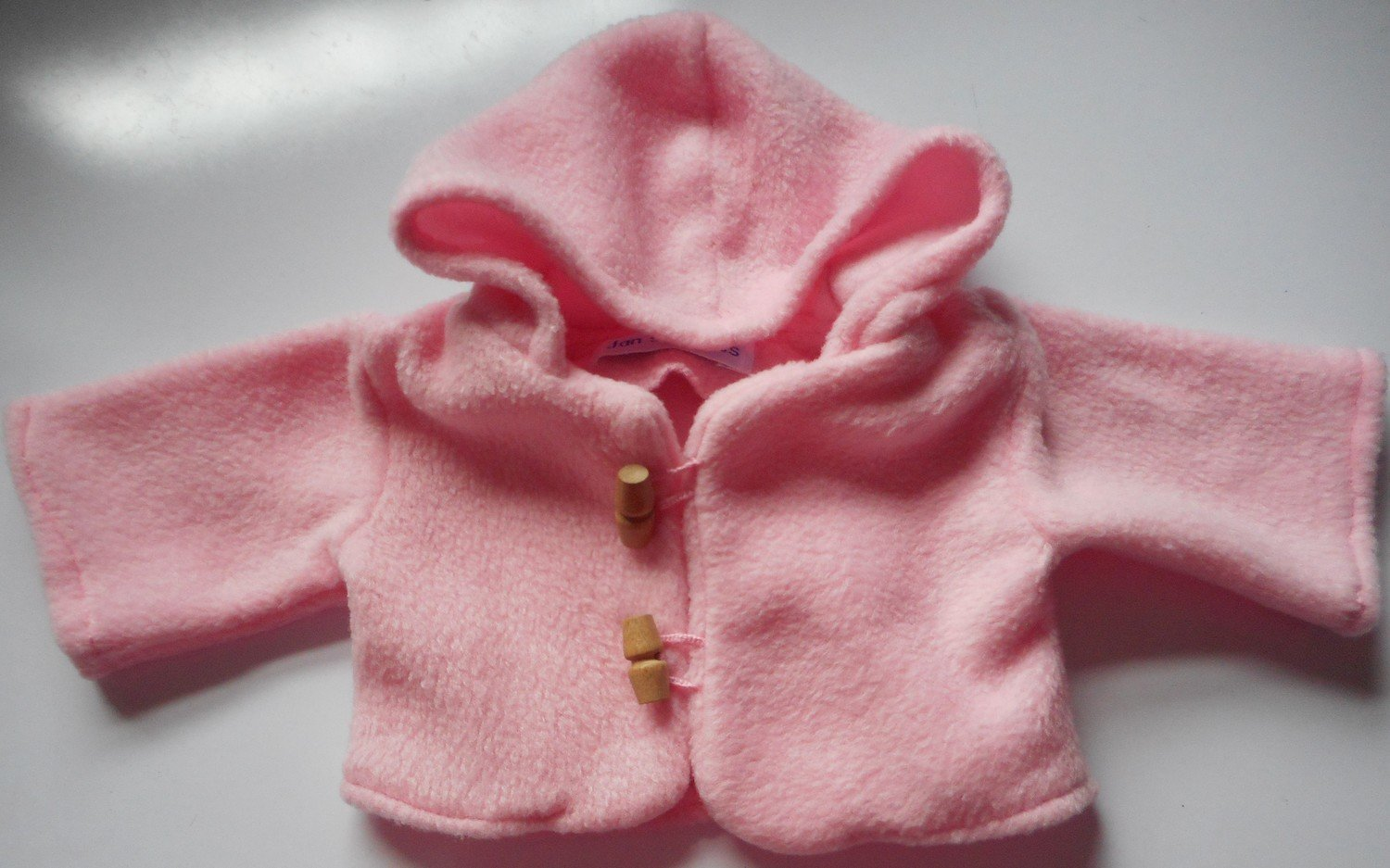 Coat for dolls - hooded, pale pink fleece, in 3 sizes