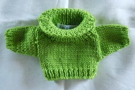 Jumper, apple green roll neck - small bear 16cm/ 6 inches high