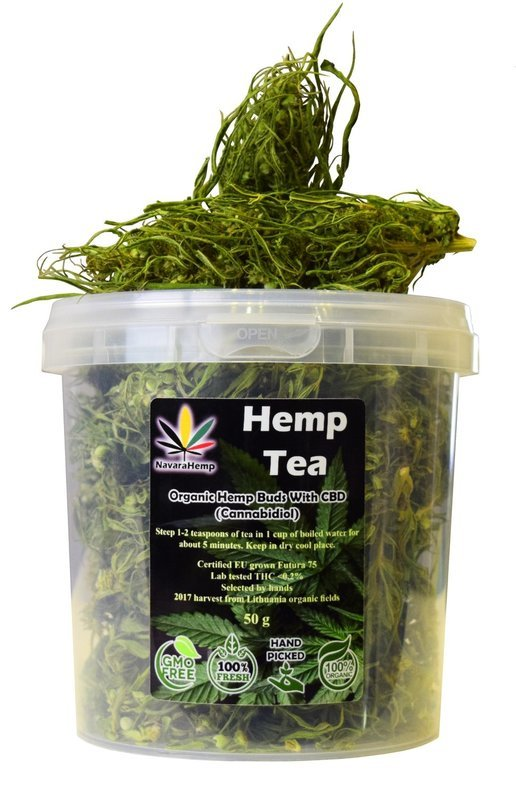 CBD rich Hemp Tea - Dried Hemp Flower Buds Hanftee ganze Hanfblüten 50g