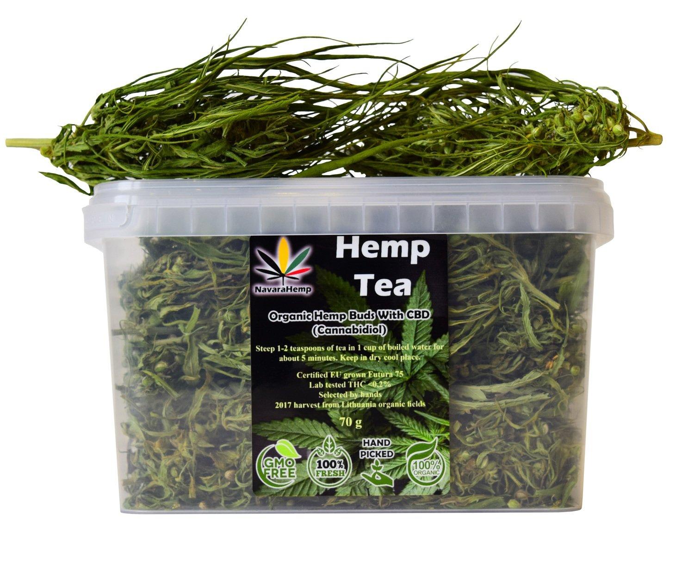CBD rich Hemp Tea - Dried Hemp Flower Buds Hanftee ganze Hanfblüten 70g