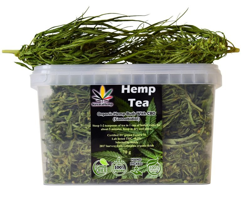 CBD rich Hemp Tea - Dried Hemp Flower Buds Hanftee ganze Hanfblüten 70g