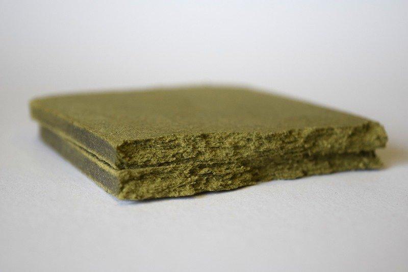 Compressed kief trichomes. Pressed industrial Hemp Pollen.