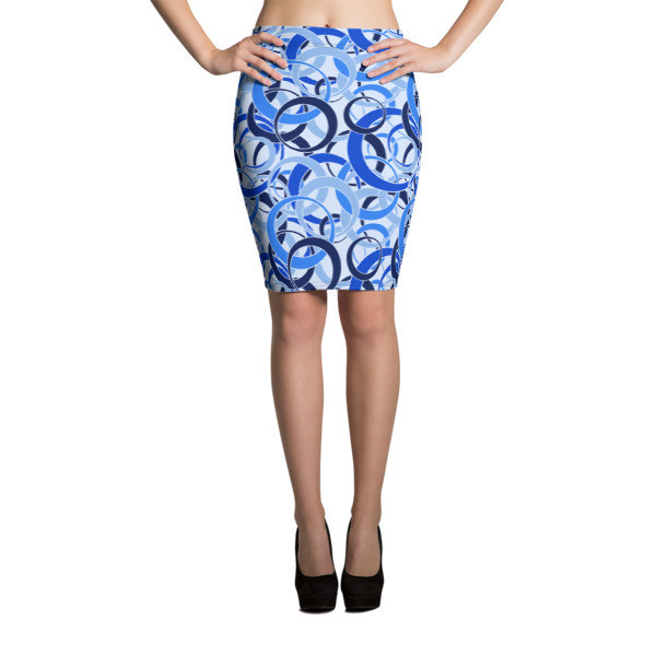 Pencil Skirt Blue Circles