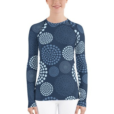 Women's Rash Guard Blue Circles