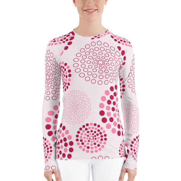 Women's Rash Guard Pink Circles