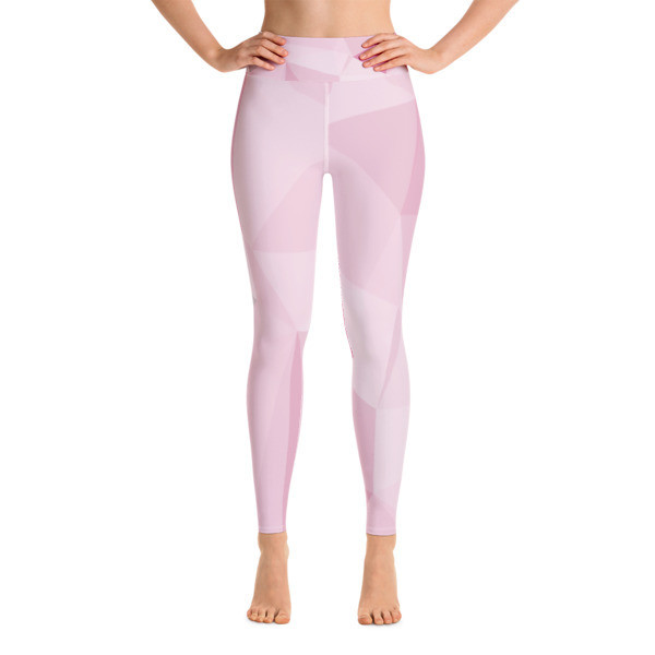 Yoga Leggings Pink & White Polygon