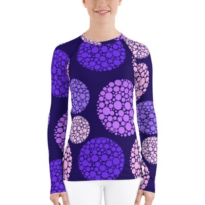 Women's Rash Guard Purple Circles