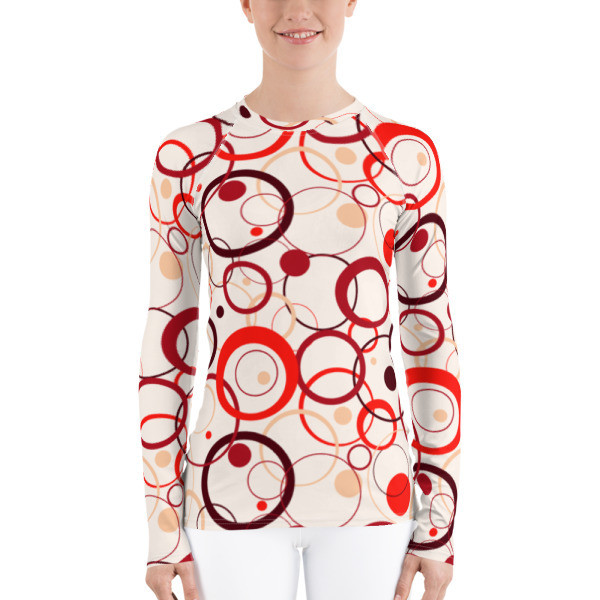 Women's Rash Guard Red Circles