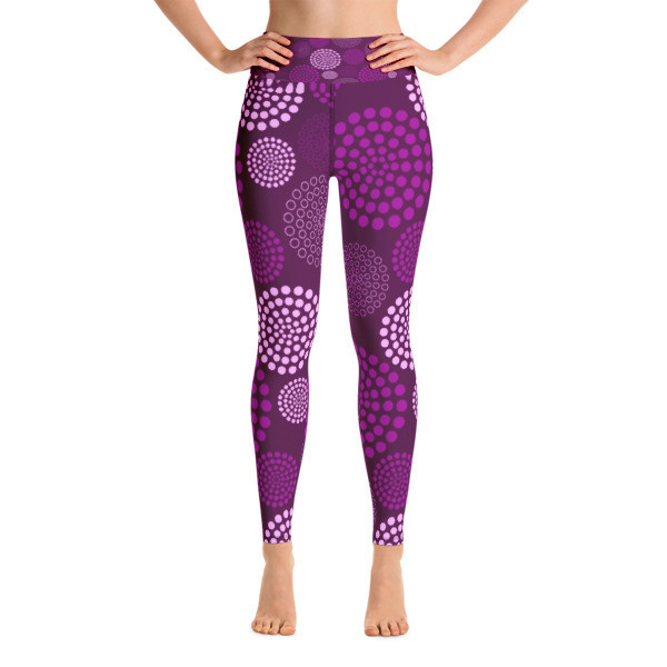 Yoga Leggings Purple Circles