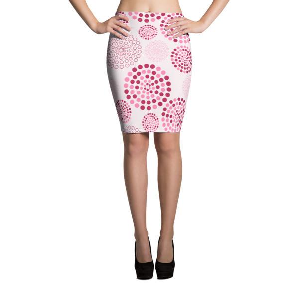 Pencil Skirt Pink Circles
