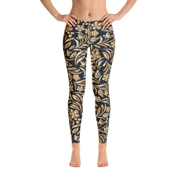 Leggings Black & Gold Flowers