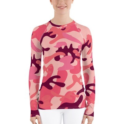 Women's Rash Guard Pink Camouflage