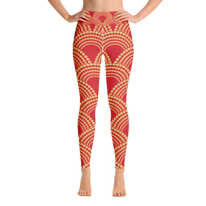 Yoga Leggings Red Ornaments