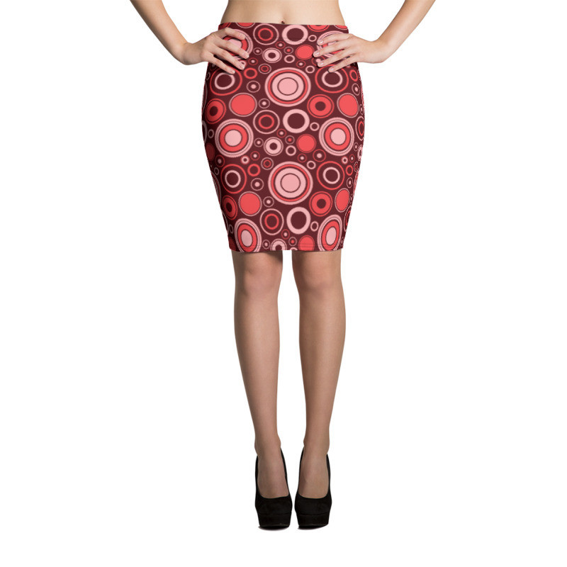 Pencil Skirt Red Circles
